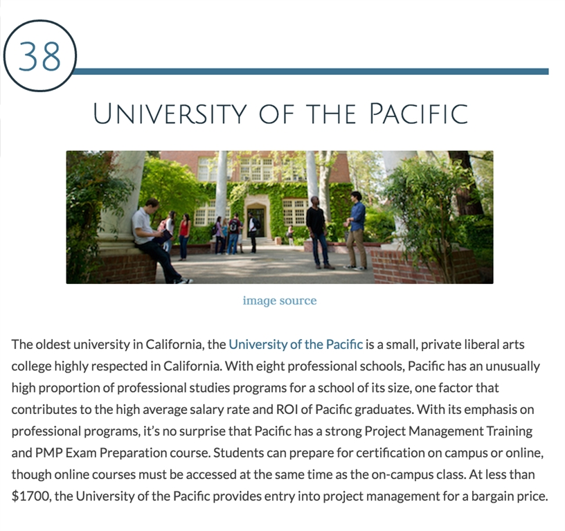 University Of The Pacific Pacifics Project Management Certificate